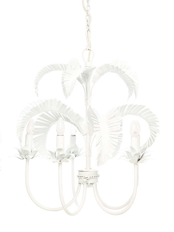 Palm Springs Chandelier - White 5 x light - Handwelded Iron