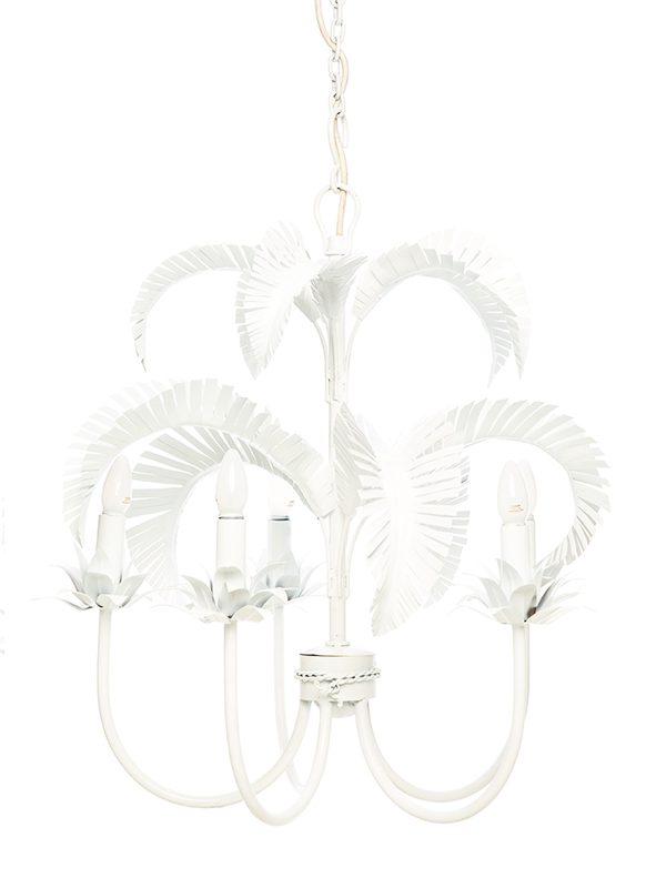 Palm Springs Chandelier - White 5 x light - Handwelded Iron