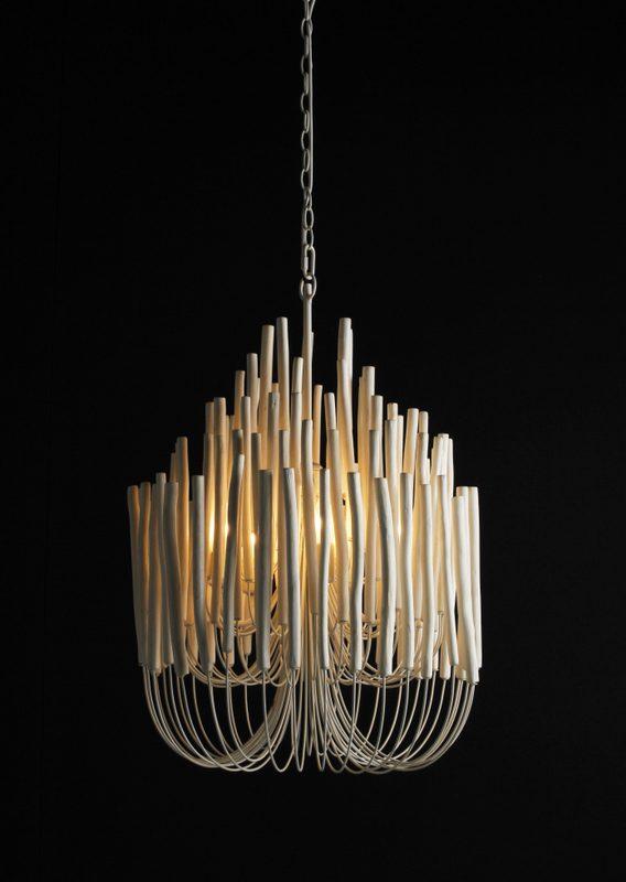 Woodsticks Pendant, 5 x light. Natural driftwood and iron. 530D x 790H mm winter white ws