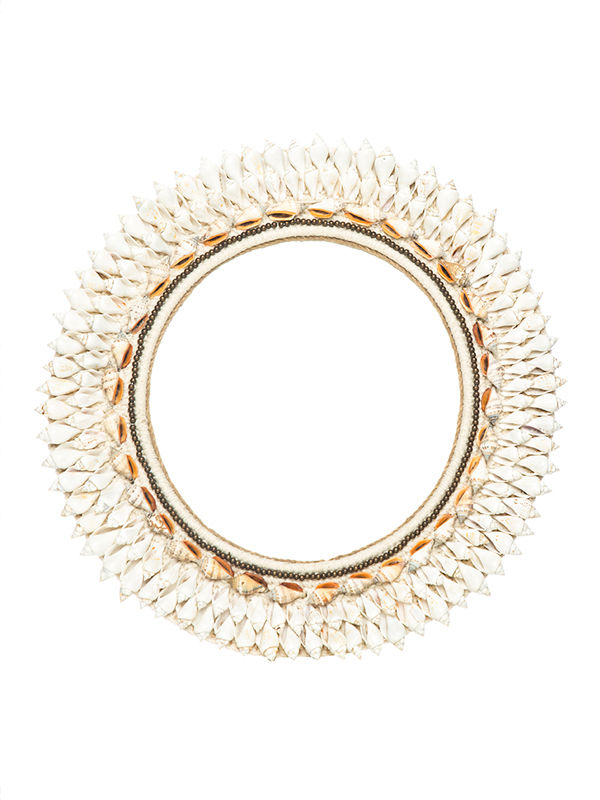 East Hampton Mirror - Off White, salmon shells + brass beading. 490D mm ws - 149 R - 298
