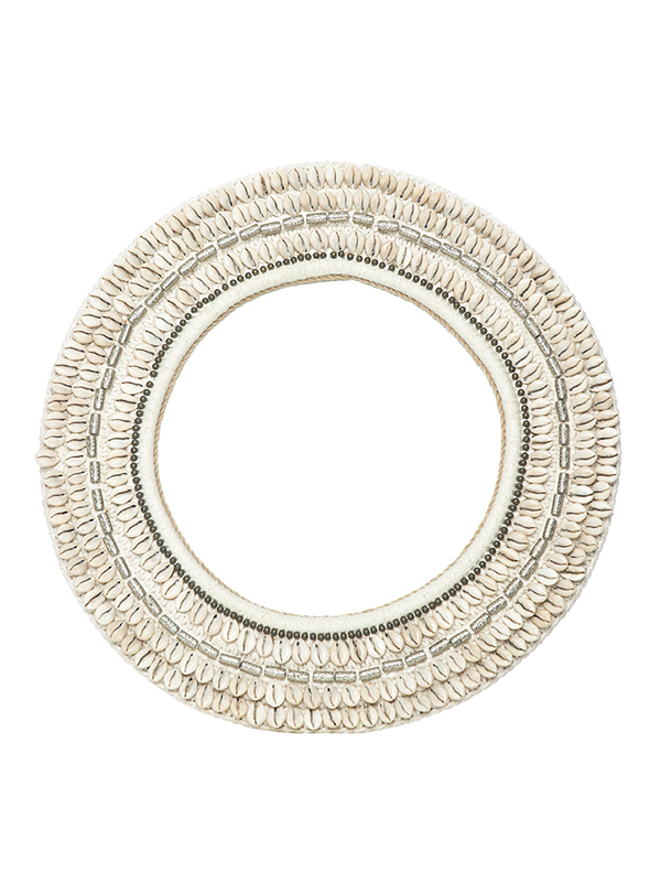 Sag Harbour Mirror - Off White, silver + brass beading. 490D mm ws - 149 R - 298
