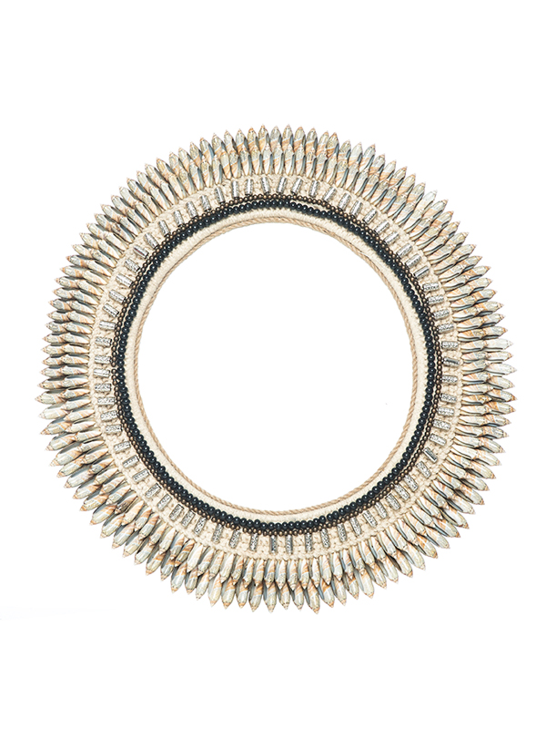 Tribecca Mirror - Taupe shells + black beading. 490D mm ws - 149 R - 298