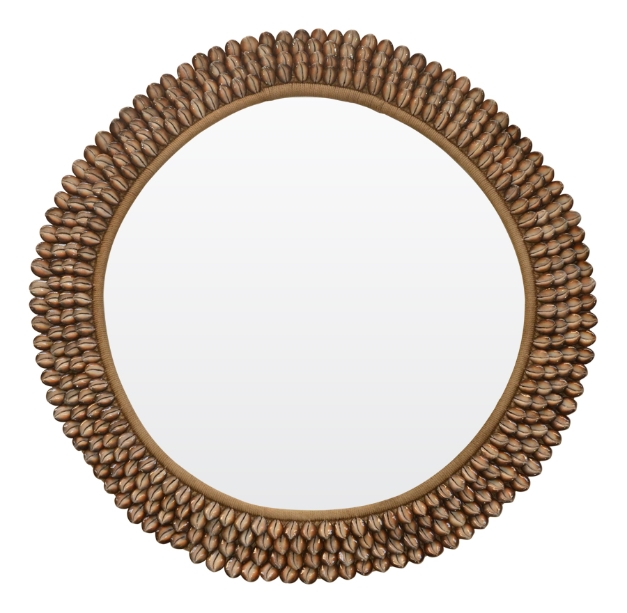Martinique Round Shell Woven organic natural mirror